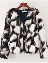 billige -kvinders bomuld / faux pels pels - solid farvet