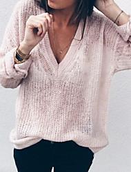 Недорогие -Жен. Длинный рукав Свободный силуэт Пуловер - Однотонный, негабаритный Глубокий V-образный вырез