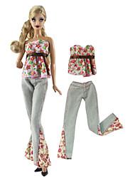 baratos -Calças / Blusas Calças / Blusa 2 pcs Para Boneca Barbie Rosa e Verde Tecido TNT / Pano Demin Blusa / Calças Para Menina de Boneca de Brinquedo