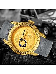 Недорогие -Муж. Наручные часы Кварцевый Компас Крупный циферблат Pезина Группа Аналоговый На каждый день Мода Черный - Черный Золотистый / Нержавеющая сталь