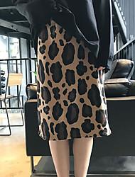 billige -kvinder går ud knælængde blyant nederdele - leopard