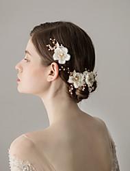 Недорогие -Шифон Зажим для волос с Цветы 1 пару × 2 Свадьба / Вечеринка / ужин Заставка