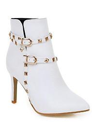 Недорогие -Жен. Fashion Boots Полиуретан Зима Ботинки На шпильке Закрытый мыс Ботинки Черный / Бежевый / Розовый