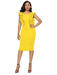 tanie -Damskie Moda miejska Pochwa Sukienka - Solidne kolory, Falbana Do kolan