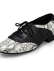Недорогие -Муж. Обувь для модерна Искусственная кожа / Кожа Кроссовки Планка Толстая каблук Танцевальная обувь Черно-белый