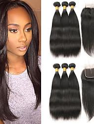 Недорогие -3 комплекта с закрытием Малазийские волосы Прямой 10A человеческие волосы Remy Накладки из натуральных волос Волосы Уток с закрытием 8-26 дюймовый Нейтральный Ткет человеческих волос 4x4 Закрытие