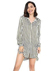 billige -kvinders strand løs skjorte - stribet skjorte krave
