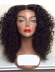Недорогие -человеческие волосы Remy Необработанные натуральные волосы Полностью ленточные Парик Бразильские волосы Loose Curl Черный Парик Стрижка каскад 130% Плотность волос / Природные волосы