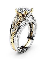 billige -Dame Klar Kvadratisk Zirconium Dobbelt Lagdelt Ring - Platin Belagt, Simuleret diamant Blomst Unikt design, Gotisk, Elegant 6 / 7 / 8 / 9 / 10 Sølv Til Bryllup Fest