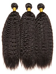Недорогие -3 Связки Бразильские волосы Индийские волосы Вытянутые 8A Натуральные волосы Необработанные натуральные волосы Подарки Человека ткет Волосы Пучок волос 8-28 дюймовый Естественный цвет