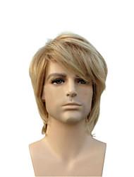 voordelige -Synthetische pruiken Recht Blond Asymmetrisch kapsel Lichtgoud Synthetisch haar 23 inch(es) Heren Jeugd Blond Pruik Kort Zonder kap