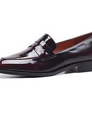 abordables -Femme Chaussures de confort Cuir Nappa Automne Mocassins et Chaussons+D6148 Talon Plat Noir / Marron