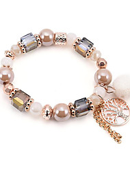 abordables -Bracelet à Perles Bracelet Bracelet Pendentif Femme Perles Elégant Bohème Bracelet Bijoux Blanc pour Mariage Quotidien