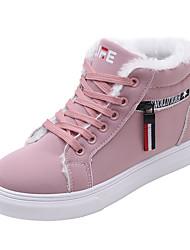 Недорогие -Жен. Комфортная обувь Полиуретан Осень На каждый день Кеды На плоской подошве Круглый носок Черный / Коричневый / Розовый / Лозунг