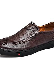 Недорогие -Муж. Кожаные ботинки Наппа Leather Осень Классика / На каждый день Мокасины и Свитер Массаж Черный / Кофейный