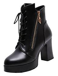 Недорогие -Жен. Fashion Boots Полиуретан Осень На каждый день Ботинки На толстом каблуке Черный / Красный