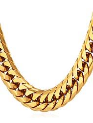 Недорогие -Муж. Толстая цепь Ожерелья-цепочки Нержавеющая сталь Мода Золотой Черный Серебряный 55 cm Ожерелье Бижутерия 1шт Назначение Подарок Повседневные