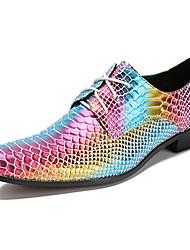 Недорогие -Муж. Официальная обувь Наппа Leather Осень Английский Туфли на шнуровке Водостойкий Цвет радуги / Для вечеринки / ужина