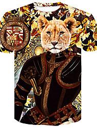 billige -Herre - Blomstret / Farveblok / Dyr Trykt mønster Gade / Punk & gotisk T-shirt Løve