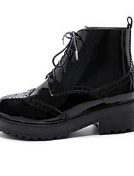 Недорогие -Жен. Комфортная обувь Наппа Leather Лето Ботинки На плоской подошве Черный / Черный и золотой