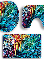 abordables -3 Pièces Rustique Tapis Anti-Dérapants Polyester Elastique Tissé 100g / m2 A Fleur Irrégulier Salle de Bain Design nouveau / Cool