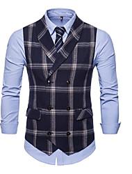 저렴한 -남성용 일상 사업 가을 플러스 사이즈 보통 조끼, 체크 셔츠 카라 긴 소매 폴리에스테르 블랙 / 네이비 블루 / 그레이 XXL / XXXL / XXXXL