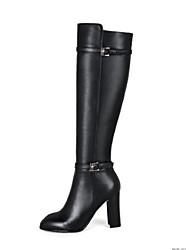 Недорогие -sw 5050 женский наппа кожаные сапоги коренастый каблук закрытый носок колено высокие сапоги черный