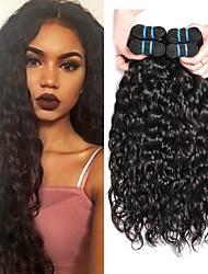 Недорогие -4 Связки Малазийские волосы Индийские волосы Волнистые 8A Натуральные волосы Необработанные натуральные волосы Подарки Головные уборы Человека ткет Волосы 8-28 дюймовый Естественный цвет