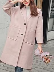 Недорогие -Жен. Повседневные Длинная Пальто, Однотонный Отложной Длинный рукав Полиэстер Розовый / Бежевый S / M / L / Свободный силуэт