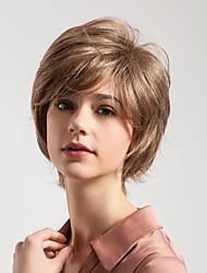 Недорогие -Человеческие волосы без парики Натуральные волосы Кудрявый Стрижка под мальчика Новое поступление / Природные волосы Светло-коричневый Короткие Без шапочки-основы Парик Жен.