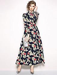 Недорогие -Жен. Изысканный / Элегантный стиль Оболочка / С летящей юбкой / Рубашка Платье С принтом Макси Тропический лист