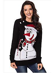 Недорогие -Жен. Повседневные Однотонный Длинный рукав Обычный Пуловер Черный / Красный L / XL / XXL