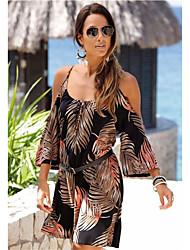 Недорогие -Жен. Прямое Платье Выше колена Тропический лист