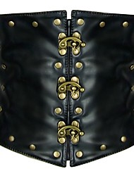 baratos -Fantasias Steampunk Ocasiões Especiais Mulheres Corpete Rebite Preto Vintage Cosplay cromada Courino