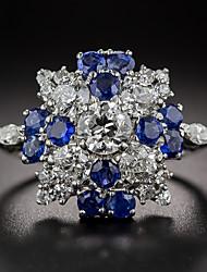 billige -Dame Kvadratisk Zirconium Vintage Stil Klassisk Band Ring Forlovelsesring - Sølv Vintage, Elegant Smykker Blå Til Bryllup Forlovelse Ceremoni 6 / 7 / 8 / 9