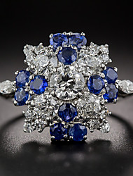 baratos -Mulheres Zircônia Cubica Estilo vintage Clássico Anel de banda Anel de noivado Prata de Lei Vintage Elegante Anéis Jóias Azul Para Casamento Noivado Cerimônia 6 / 7 / 8 / 9