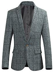 저렴한 -남성용 일상 가을 보통 블레이져, Houndstooth 셔츠 카라 긴 소매 폴리에스테르 다크 그레이 / 와인 / 라이트 그레이 XXXXL / XXXXXL / XXXXXXL