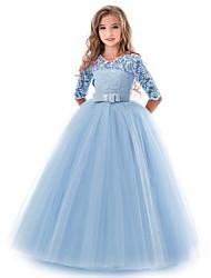 Недорогие -Дети Девочки Классический Однотонный С короткими рукавами Платье Красный