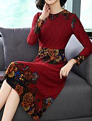 Недорогие -Жен. Классический Оболочка Платье - Цветочный принт Вырез под горло Средней длины