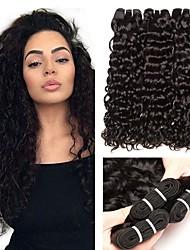 Недорогие -3 Связки Малазийские волосы Индийские волосы Волнистые 8A Натуральные волосы Необработанные натуральные волосы Wig Accessories Головные уборы Человека ткет Волосы 8-28 дюймовый Естественный цвет