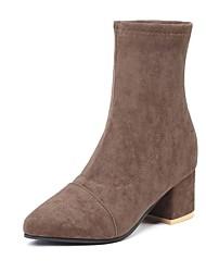 저렴한 -여성용 구두 PU / 탄성 직물 가을 겨울 부츠 청키 굽 종아리 중간 높이 부츠 일상 용 블랙 / 브라운