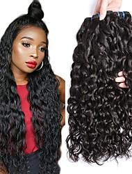 Недорогие -4 Связки Бразильские волосы Малазийские волосы Волнистые 8A Натуральные волосы Необработанные натуральные волосы Подарки Человека ткет Волосы Сувениры для чаепития 8-28 дюймовый / Черный