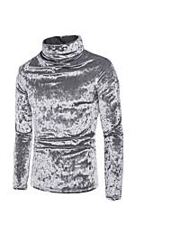 Недорогие -мужская хлопчатобумажная футболка - сплошная цветная водолазка