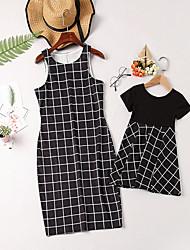 Недорогие -Мама и я Классический Повседневные Полоски С короткими рукавами Полиэстер Платье Черный