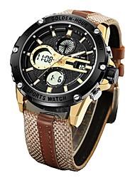 Недорогие -Муж. Спортивные часы Армейские часы Японский Цифровой Кожа Коричневый / Зеленый 30 m Защита от влаги Календарь Секундомер Аналого-цифровые Кольцеобразный Мода -  / Два года / Фосфоресцирующий