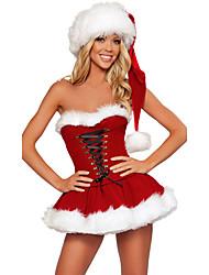 Недорогие -Костюмы Санта Клауса Mrs.Claus Костюм Жен. Рождество Фестиваль / праздник Инвентарь Красный Однотонный Праздник Рождество