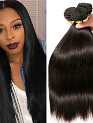 Недорогие -3 Связки Бразильские волосы Монгольские волосы Прямой 8A Натуральные волосы Необработанные натуральные волосы Подарки Косплей Костюмы Головные уборы 8-28 дюймовый Естественный цвет