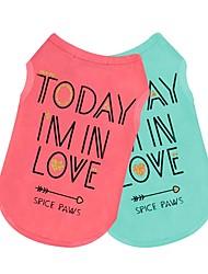 abordables -Chiens / Chats Tee-shirt Vêtements pour Chien simple / Autre / Slogan Vert / Rose Coton Costume Pour les animaux domestiques Homme / Femme Vacances / Décontracté / Quotidien