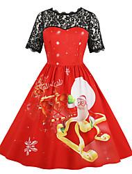 Недорогие -Жен. Классический Рукава буффы А-силуэт Платье - Контрастных цветов, Кружевная отделка Средней длины Черный и красный