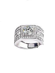 billiga -Herr Silver Klassisk Ring - Stjärna Lyx Justerbar Silver Till Bröllop Party